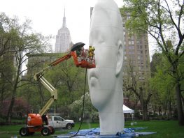 Alpines work on the Madison Square Park Statue.  Slurry Blasting to Remove Surface Stains Artwork and Sculptures