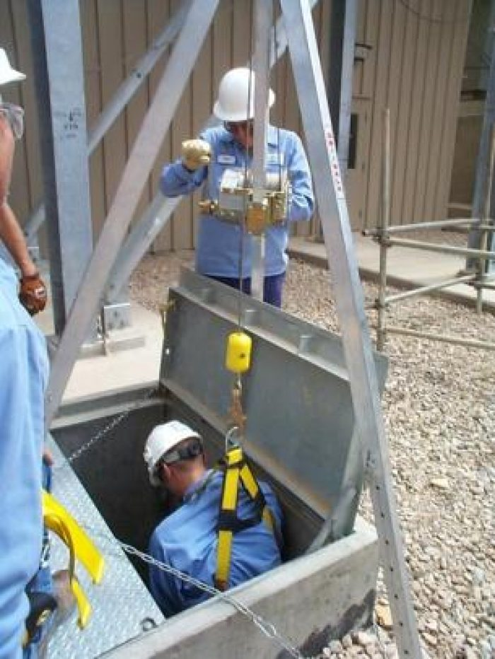 Tripod Lowering into Confined Space Environment at DuPont Manufacturing, in Parlin, New Jersey Confined Space Work Environments
