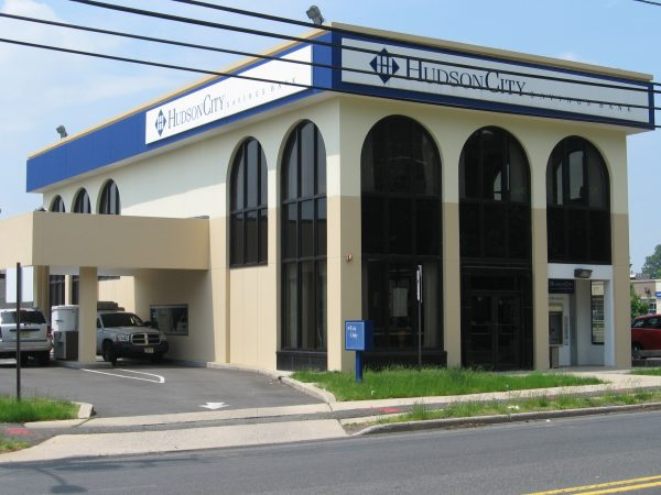 Left view of the front of Hudson City Savings Bank Lodi, NJ from Essex Street. Banks